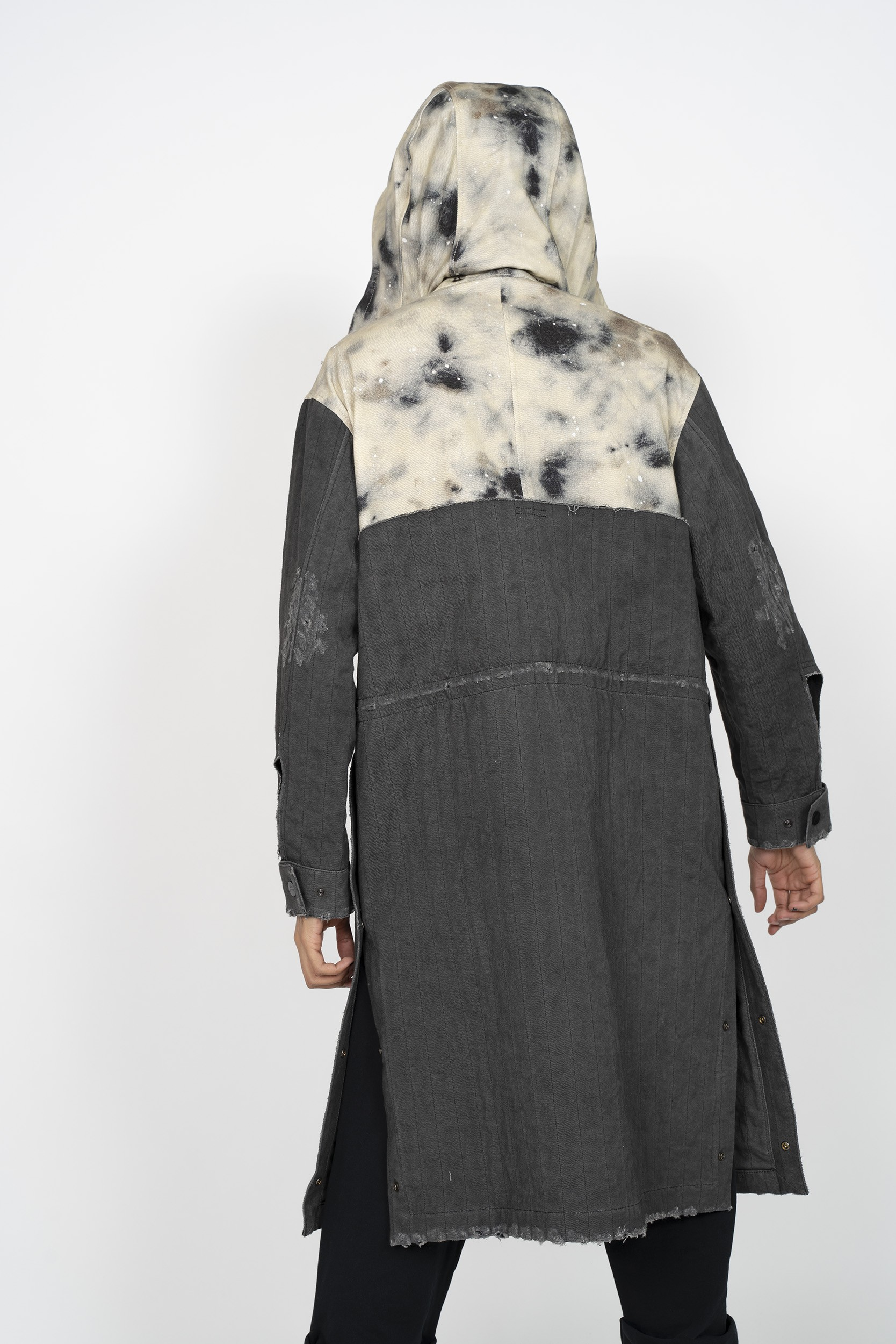 A-COLD-WALL* x DIESEL RED TAG Stain Print Distressed Denim Overlay Coat