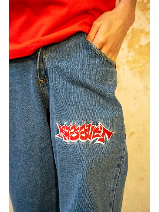 Paccbet Mens Denim Pants With Embroidery Blue