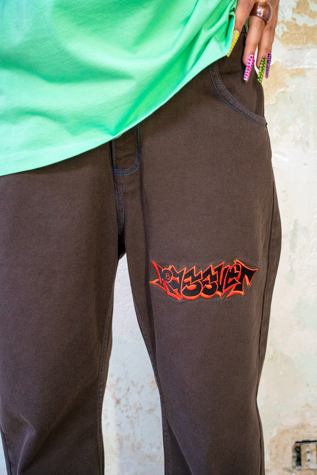 Paccbet Mens Denim Pants With Embroidery Brown