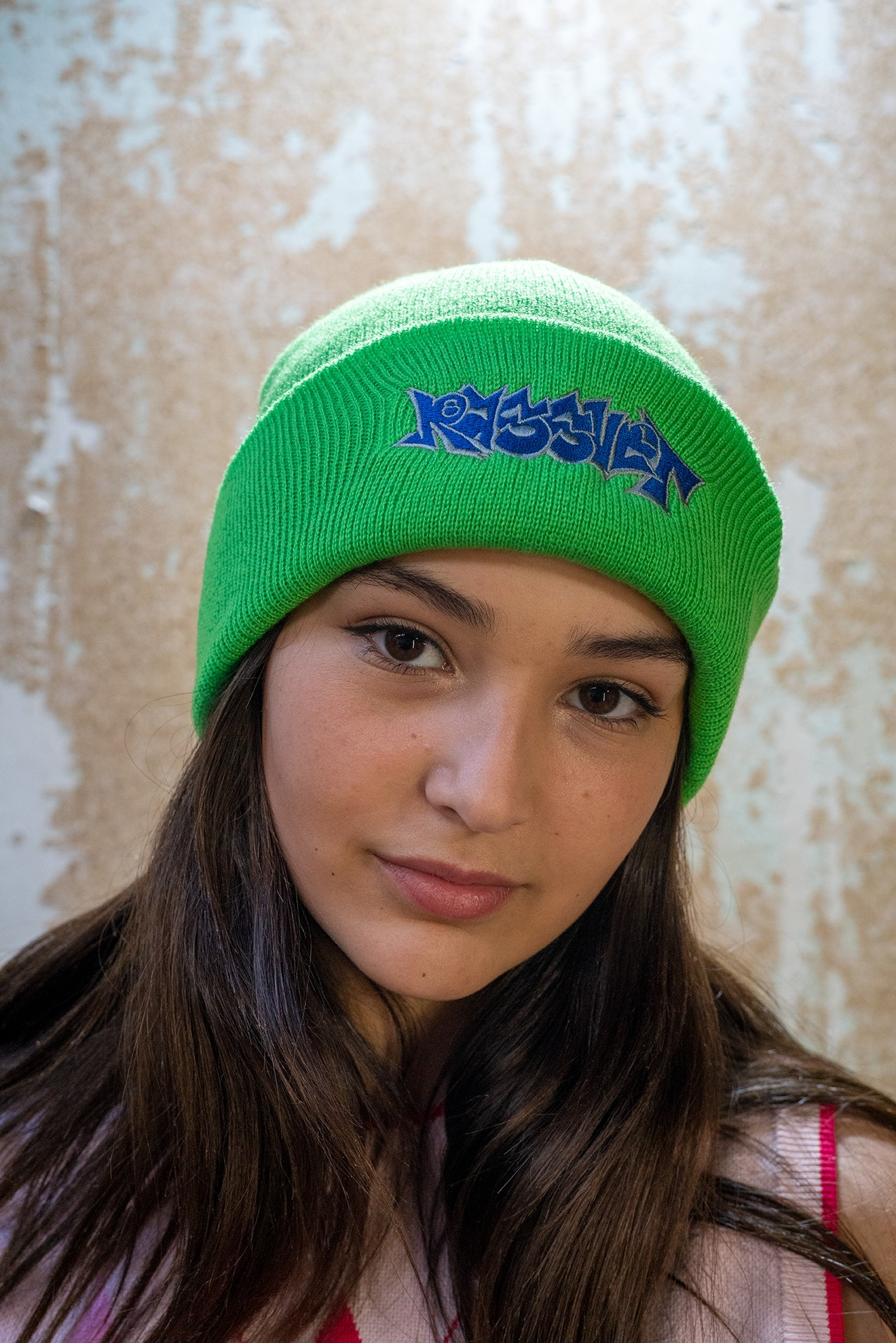 Paccbet Mens Beanie With Embroidery Bright Green