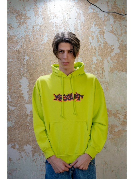 Paccbet Mens Printed Hoodie Bright Yellow