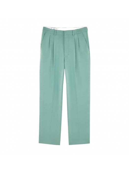 Ami Wool Wide Fit Pleated Trousers Green Aqua