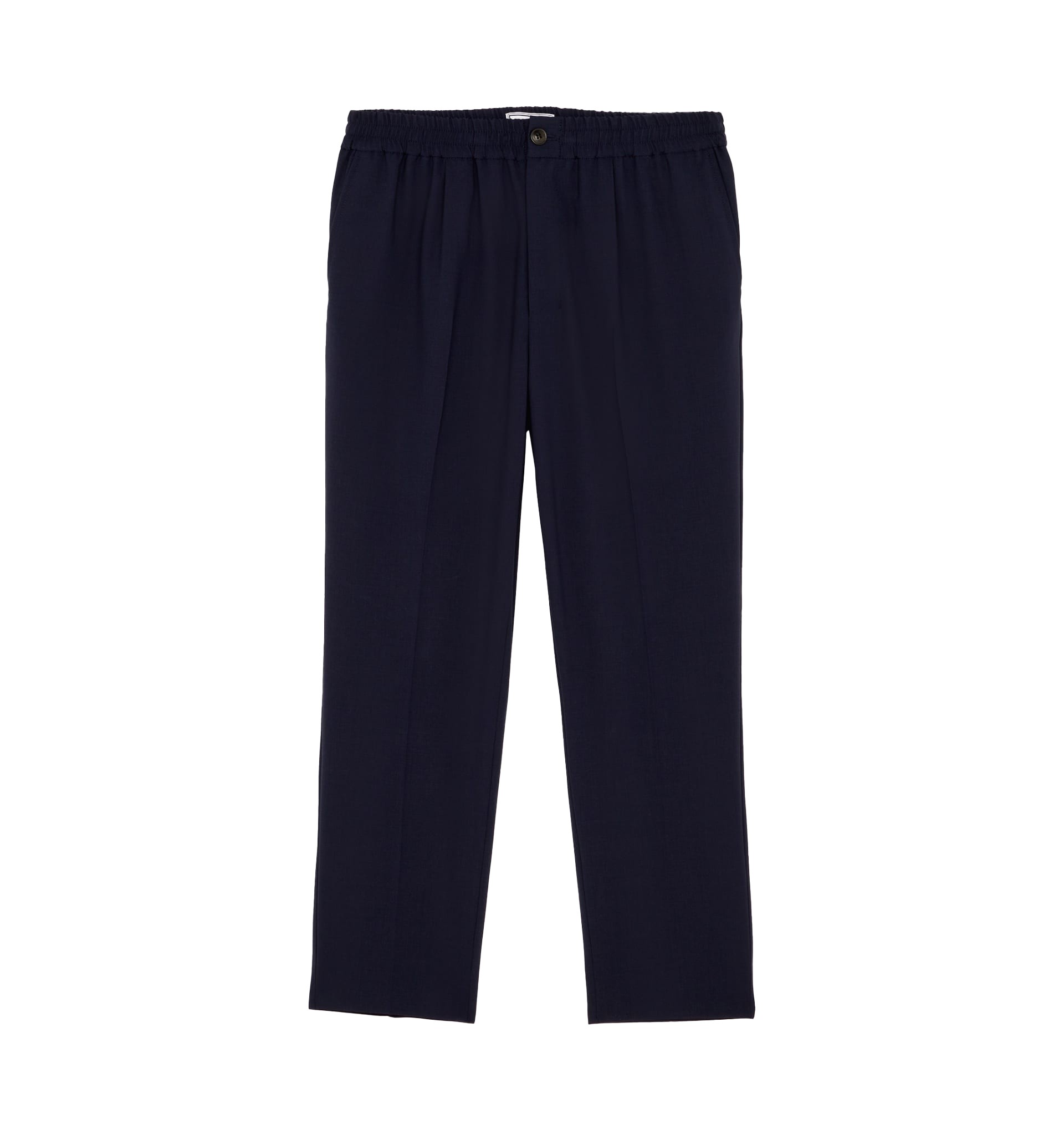 Ami Elastic Waist Cropped Fit Trouser Navy