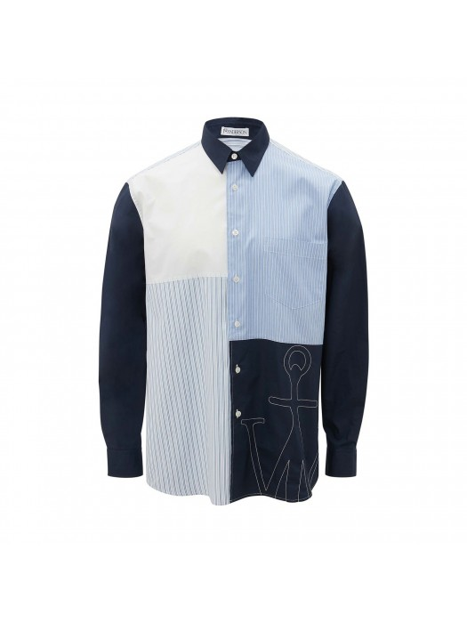 JW Anderson Relaxed Patchwork Shirt Navy