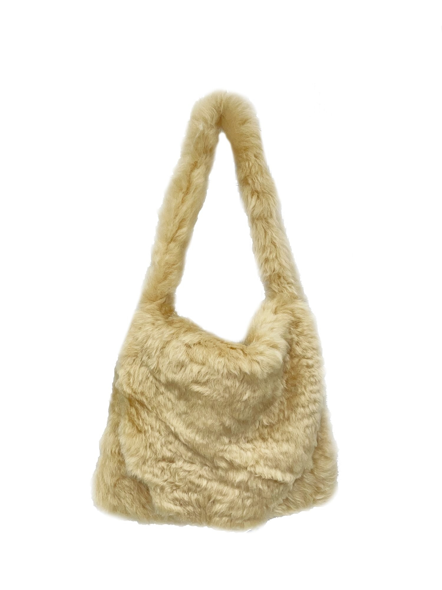 ERL Shearling Bag Leather Beige