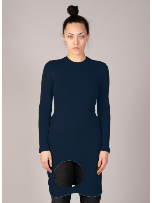 Vaquera Cotton Fitted Hole T-Shirt Navy